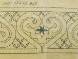 Vzorec za klekljano čipko hrani Loški muzej Škofja Loka, E 10421 b.